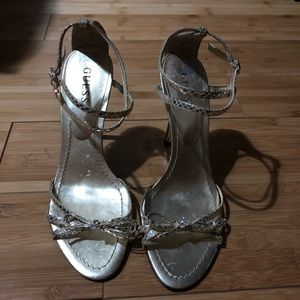 GUESS Gold Ankle Strap Heels
